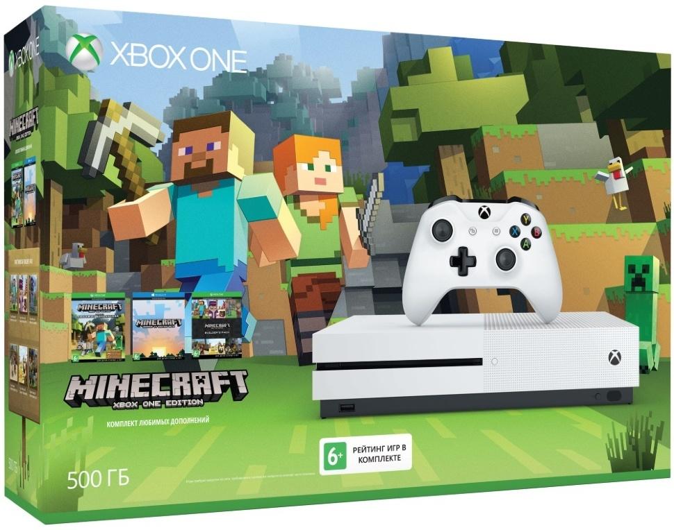 Microsoft Xbox One S (500Gb) (РосТест) + Minecraft